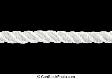 Section of rope on black - Strong nylon rope isolated on...