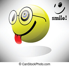 Smile Emoticon - Smiling geek emoticon EPS10 - Transparency,...