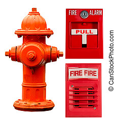 fire hydrant, pull station and alarm collage