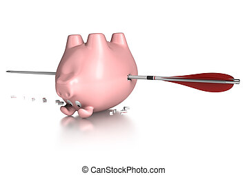 piggy bank lying on his back and pierced by an red arrow. Image over a white background with reflection