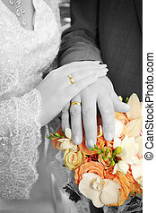 Wedding: hands, rings and bouquet