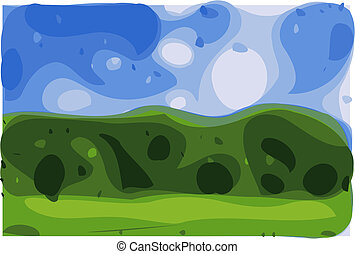 Green Mountain and Sky - a simple green mountain with blue...