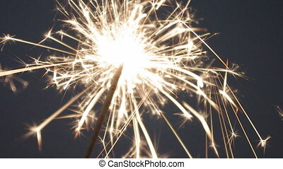 Sparkler - closeup view of burning sparkler