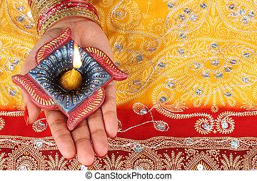 diwali, mão, feito à mão, lâmpada,  diya