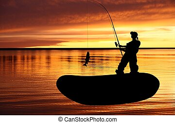 Fisherman with catching pike - Fishing boat and fisherman...