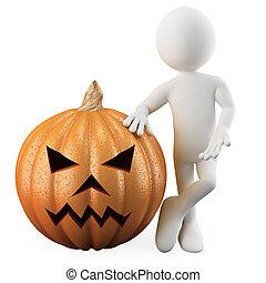 Man leaning on a Halloween pumpkin
