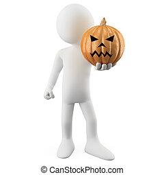 Man holding a Halloween Pumpkin