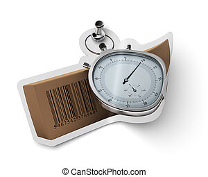 sticker with carton box  and stopwatch fixed onto a white wall with a thumbtack