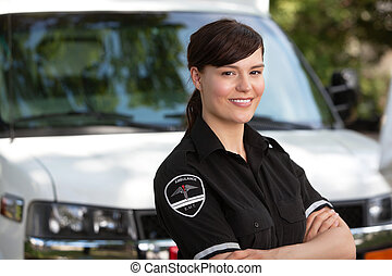 Woman Paramedic - Portrait of a happy friendly female...