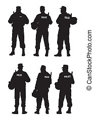 policía, barrera, defensa
