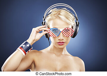 0656- Portrait of  model with American inspired accessories.