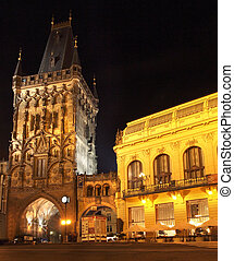 Prague by night: Powder Tower and Municipal House