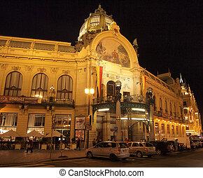 Prague by night: Municipal House
