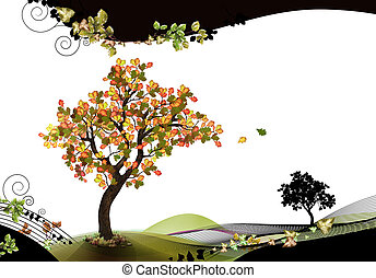 Nature header and footer with beech tree