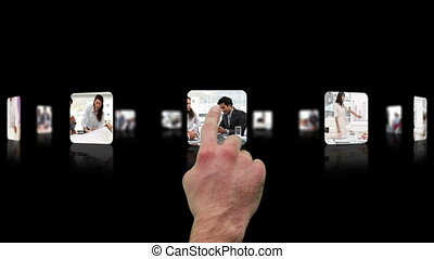 Hand choosing clips about business