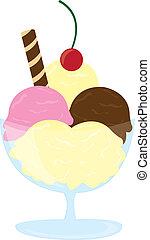 ice cream vector - ice cream cartoon with cherry isolated...