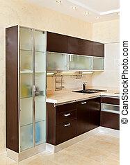 parte, moderno, cocina, interior, alacena, tibio, tonos