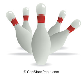 Bowling pins illustration on white background