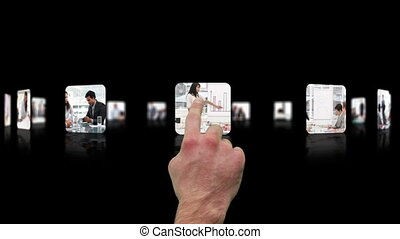 Hand choosing clips about business meeting