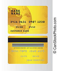 credit cards - gold plastic credit cards over gray...