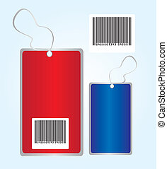 red and blue tags with bar code over blue background. vector