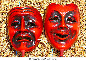 Two masks, comedy and tragedy face masks