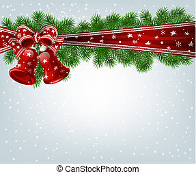 Christmas background - Christmas bells, fir branches and...