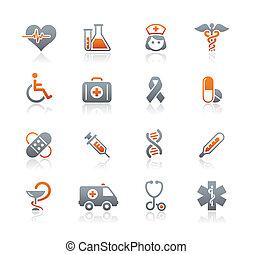 Medicina, y, brezo, cuidado, iconos