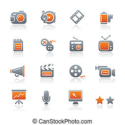 Multimedia Icons Graphite Series - Vector icons for your...