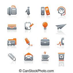 oficina, y, empresa / negocio, iconos, /, grafito