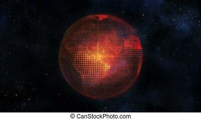 Orange Earth turning against black background