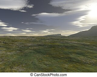 Welsh Landscape - Welsh mountain landscape, 3d digitally...