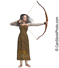 Wood Elf Archer Girl - Wood elf archer girl with bow, 3d...