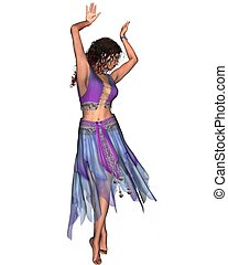 azul, cigana, dançarino, saia