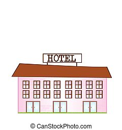 cartoon hotel - pink and brown cartoon hotel isolated over...