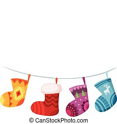 christmas stocking - vector illustration of a christmas...
