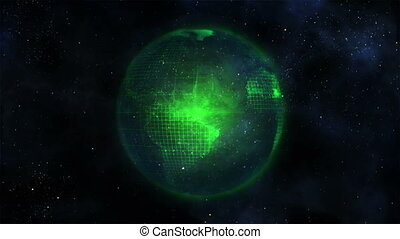 Green Earth turning against a black background