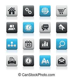 tela, sitio, y, internet, /, mate, botones