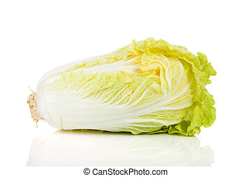 fresh Chinese cabbage in closeup over white background