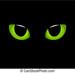 Cat eyes - Hypnotic green cat eyes in darkness. Vector...