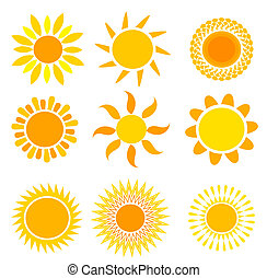 Suns collection - Set of symbolic suns - vector illustration