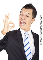 happy Businessman giving OK gesture