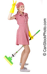Funny charwoman with mop on white - Funny charwoman with mop...