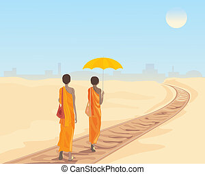 railway tracks - an illustration of two buddhist monks...