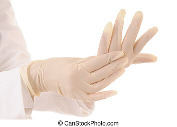 Protective workwear - Two hands in medical gloves and white...