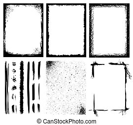 Frames, Textures, Lines and Brushes - Set of different...