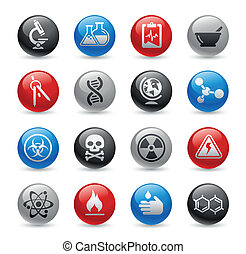 Science / Gel Pro - Glossy web buttons set for your website...
