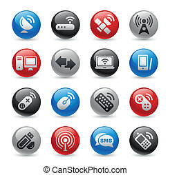 Wireless and Communications Gel Pro - Glossy web buttons set...