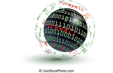 Firewall abstract globe - Firewall globe - internet concept...