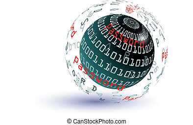 Password abstract globe - Password globe - internet concept...